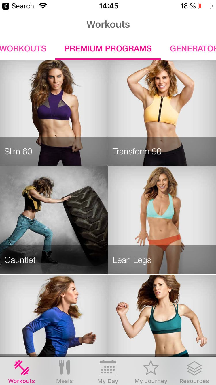 Programy v aplikaci od Jillian Michaels