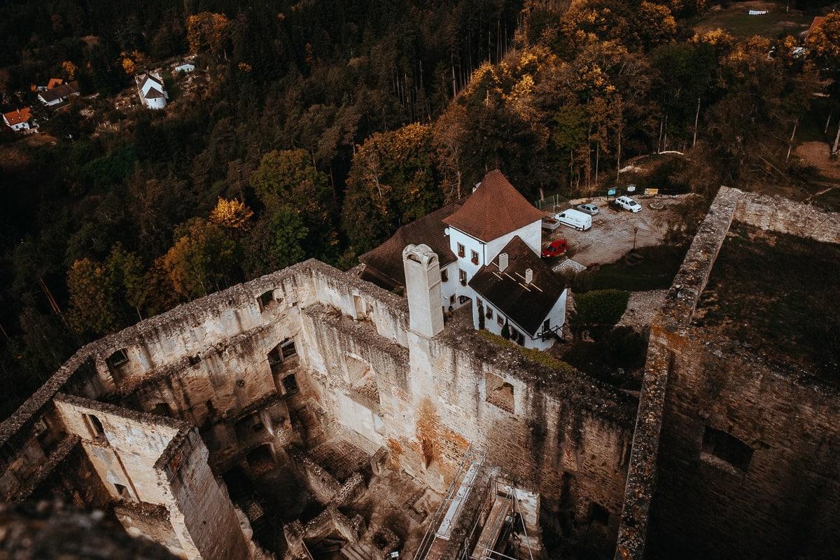 Hrad Landštejn z jedné z jeho věží