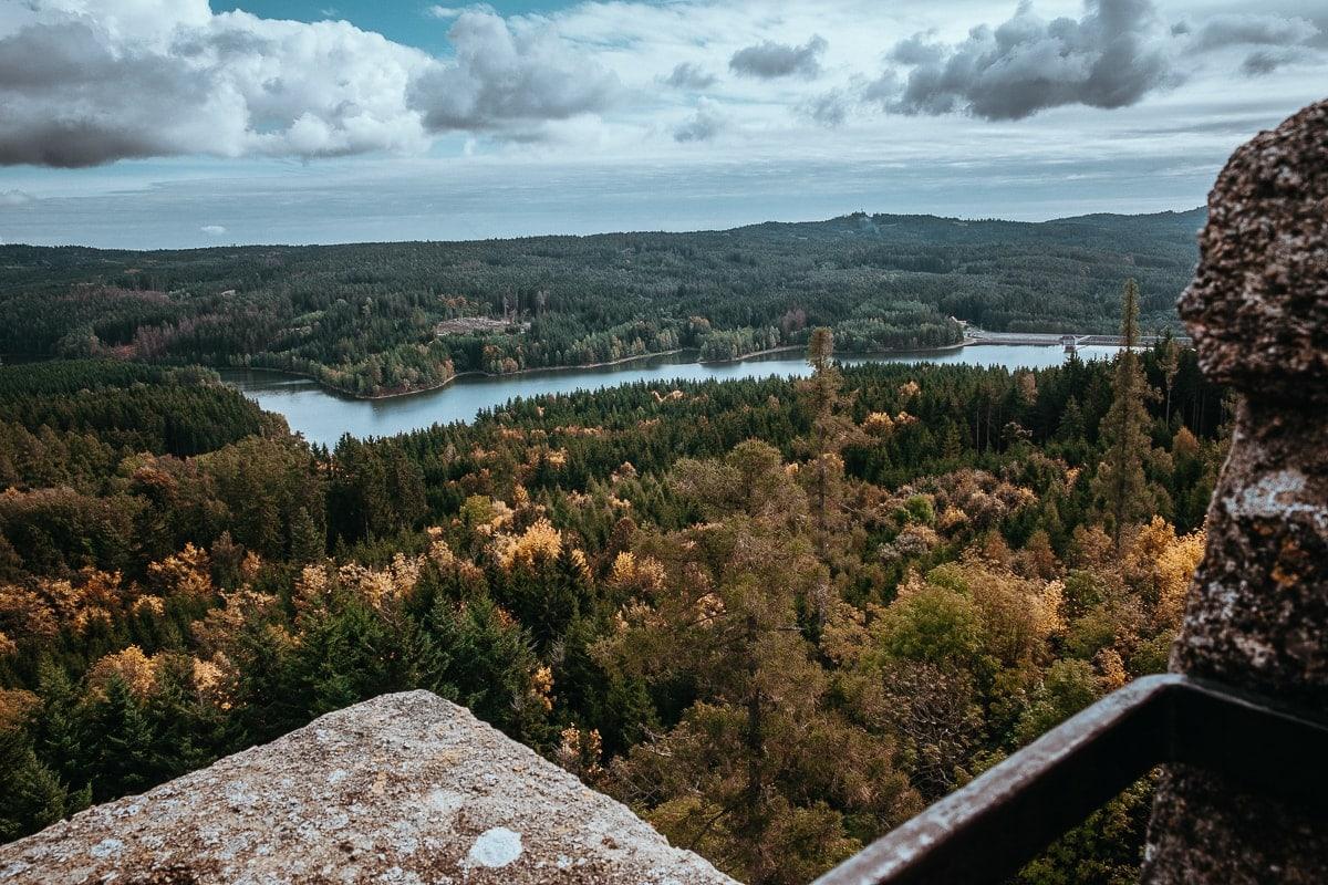 Výhled z Landštejna na Českou Kanadu